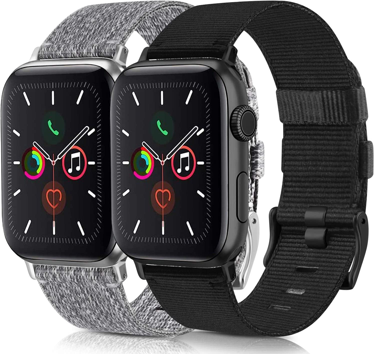 [2 Pack] Woven Bands Compatible for Apple Watch Band 38mm 40mm 42mm 44mm, Soft Woven Fabric Replacement Band Compatible for iWatch Series 6 5 4 3 2 1 (Black,Gray, 42mm/44mm)