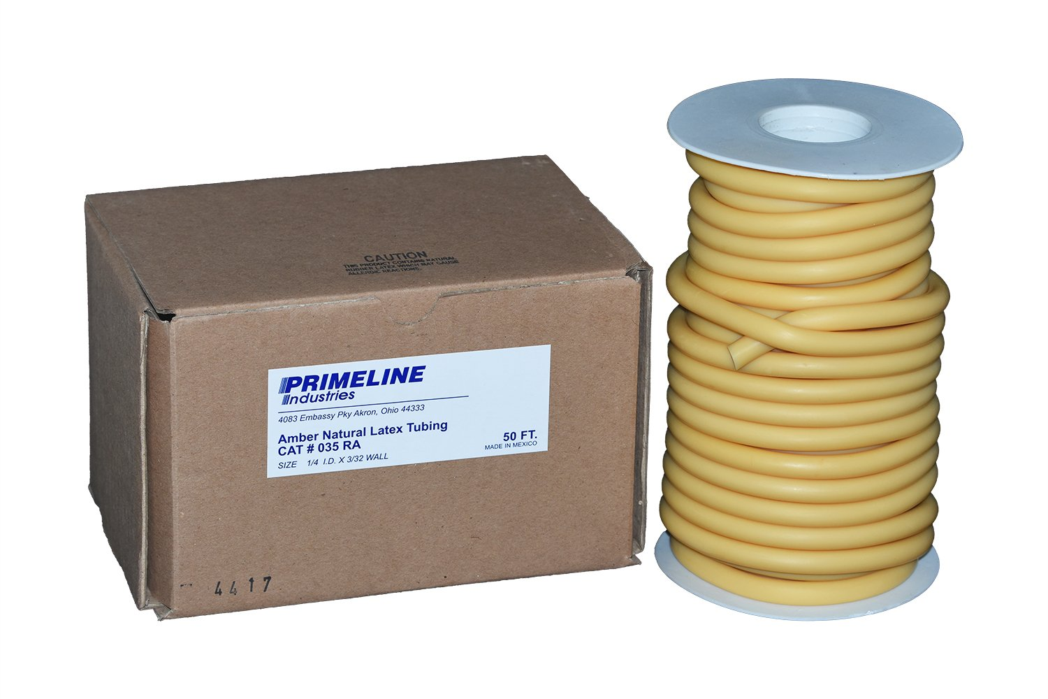 Natural Rubber Latex Tubing - 1/4 ID x 3/32 Wall Amber - 50 Foot Reel by Prime Line
