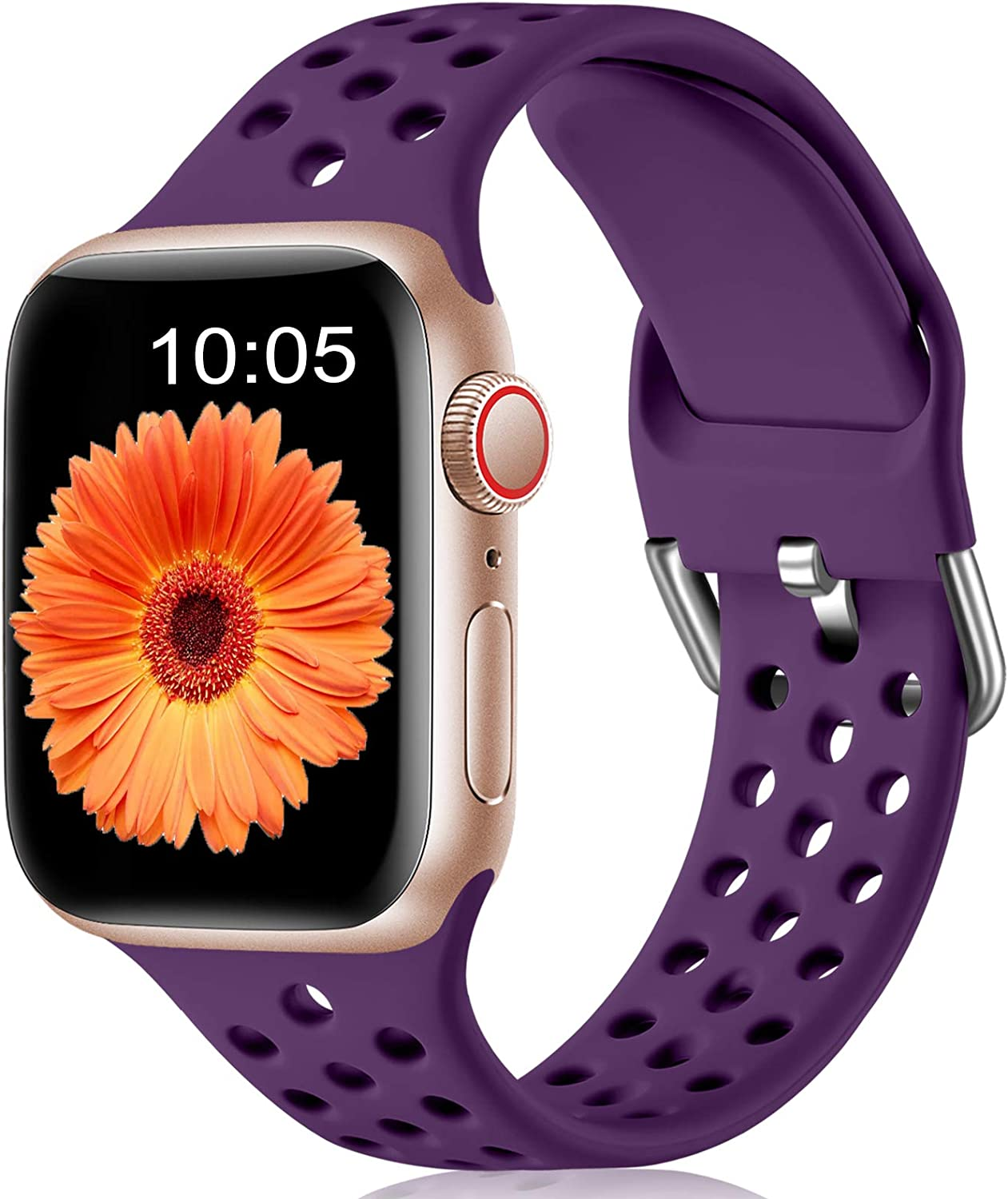 LEOMARON Compatible with Apple Watch Band 40mm 44mm 38mm 42mm, Breathable Sport Soft Silicone Replacement Wrist Band Compatible for iWatch Series 6/SE 5 4 3 2 1