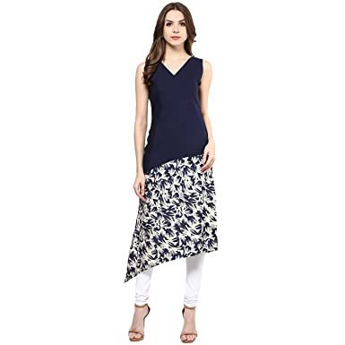 e9c6b862b41 IVES Straight Blue Cotton Solid Casual Kurti for Women  Amazon.in  Clothing    Accessories