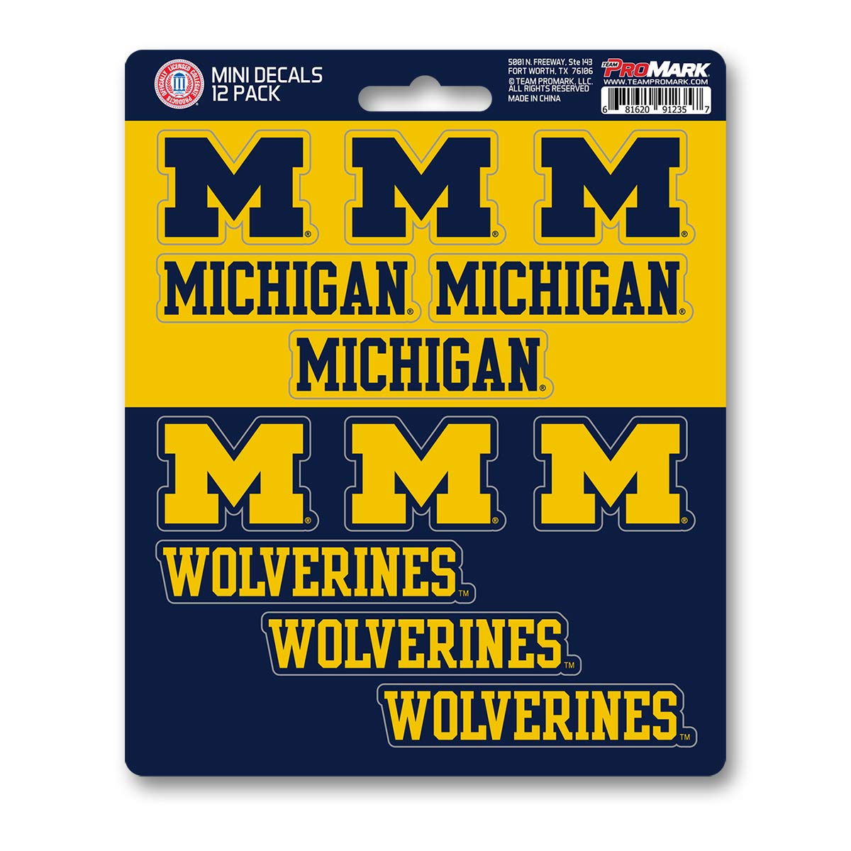 One Size 12 Pack Team Color ProMark NCAA Michigan Wolverines Decal Set Mini