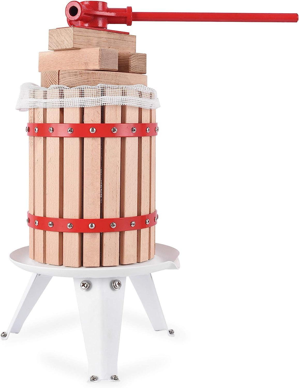 YUDA Upgraded 1.6 Gallon Manual Fruit Wine Press W/ 8 Blocks 100% Nature Oak, Cider Apple Grape Berries Crusher Juice Maker