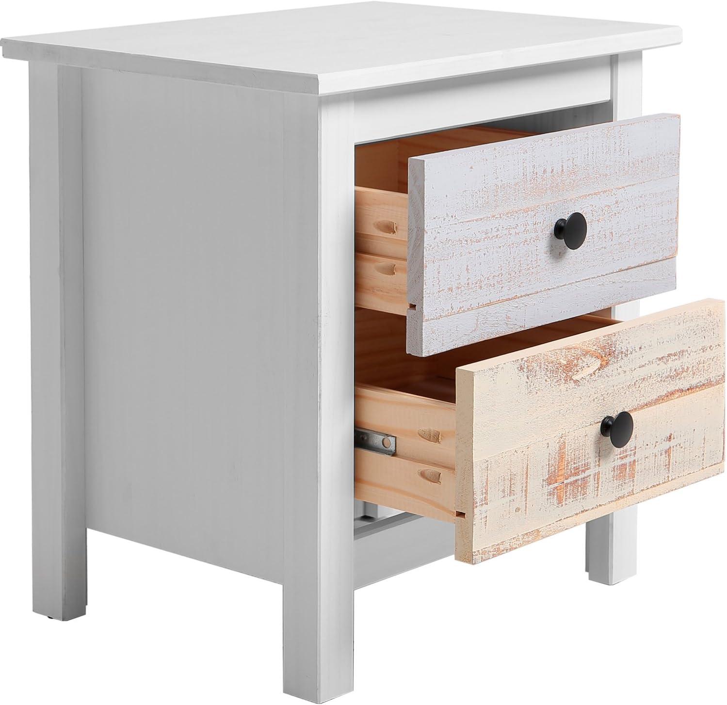 VS Venta stock Table de Chevet 2 tiroirs dans Les tiroirs Blancs et Multicolores