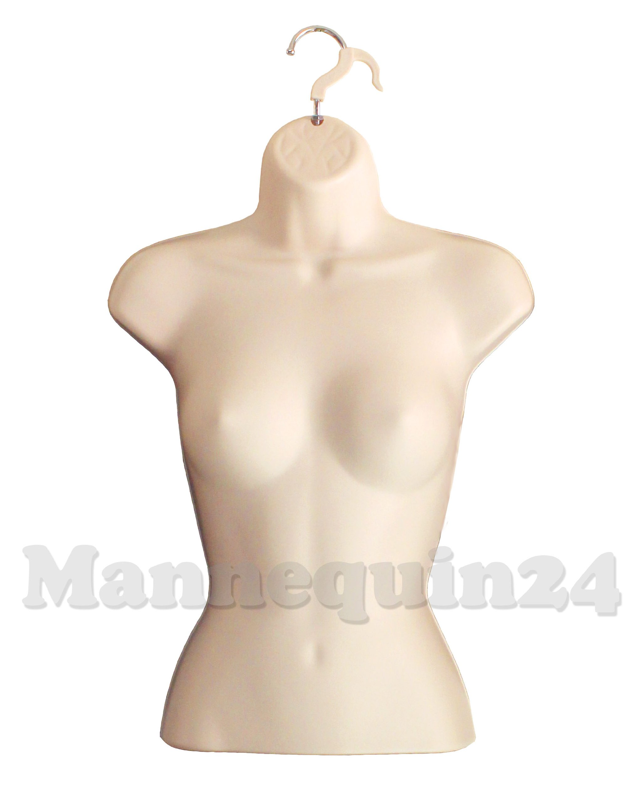 Flesh Female Torso Mannequin Form (Hard Plastic / Waist Long) with Hook for Hanging