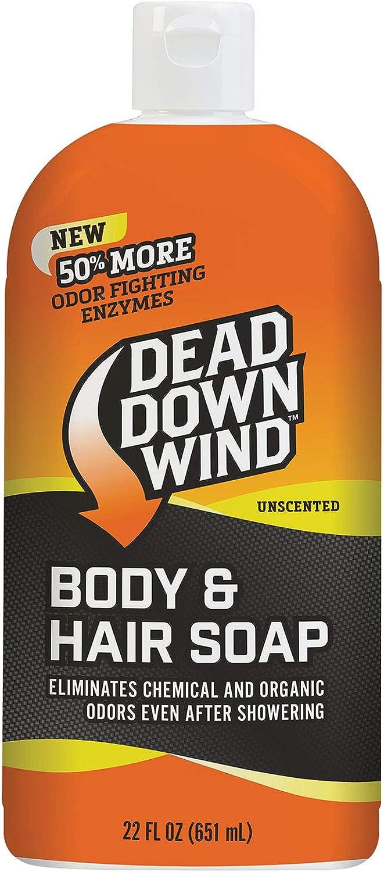 Dead Down Wind Body & Hair Soap | 22 oz Bottle | Unscented | Odor Eliminator, Hunting Accessories | Gentle Body Wash & Shampoo for Hunting | Safe for Sensitive Skin