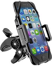 Beikell Soporte Móvil Bicicleta, Anti Vibración Soporte Móvil Teléfono Bicicletas y Motos Ajustable Rotación 360° Universal con Cuatro Bandas Elásticas para iPhone X/8/7/6, Samsung, Huawei etc.