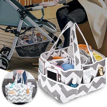 Organizador de pañales para bebé, organizador de pañales portátil, cesta de almacenamiento para guardería