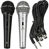 Juego de karaoke con dos micrófonos dinámicos y cables de audio jack