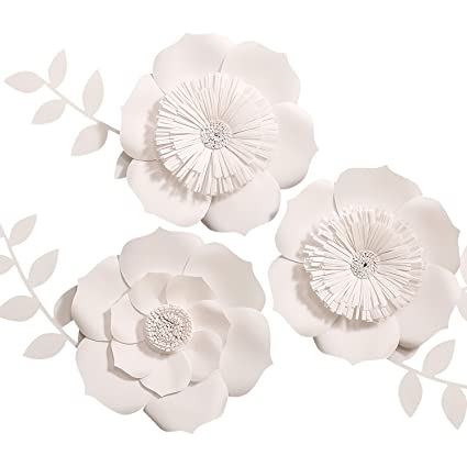Amazon lings moment 3d flowers large white paper flower lings moment 3d flowers large white paper flower handcrafted flowers wall hanging mightylinksfo Images