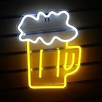 Letrero luminoso LED en forma de cerveza, color amarillo claro, blanco, decoración de pared para bar, club nocturno…