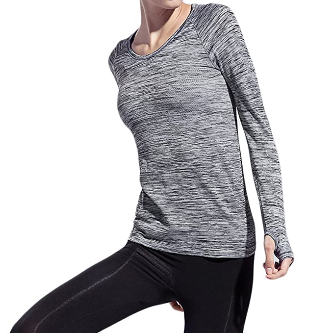 Sports Long Sleeve Yoga T-shirt Running Fitness Jacket at ...