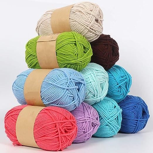 Dyyicun12 Hilo para Tejer, 50g Algodón De Leche Acrílico Crochet ...