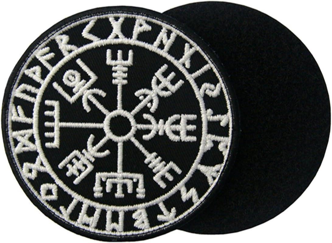 Vegvisir Viking Br/újula Norse Rune Morale T/áctica Broche Bordado de Gancho y Resplandor en el parche oscuro de Gancho y bucle de cierre