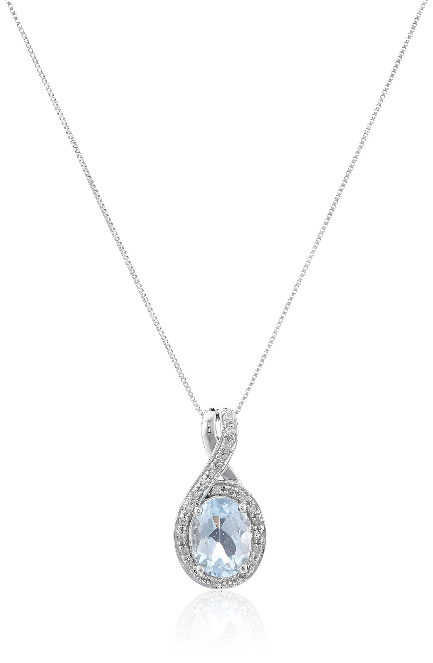 14k White Gold, Aquamarine, and Diamond (1/10 cttw, H-I Color, I2-I3 Clarity) Oval Pendant Necklace, 18''
