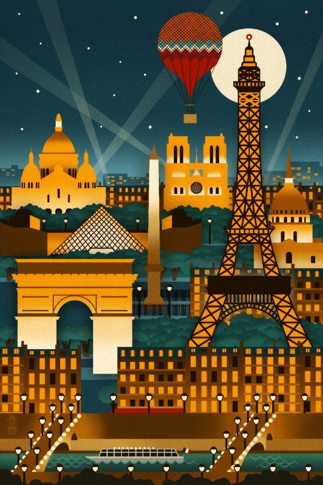 Paris, France - Retro Skyline (no text) (12x18 Art Print, Wall Decor Travel Poster)