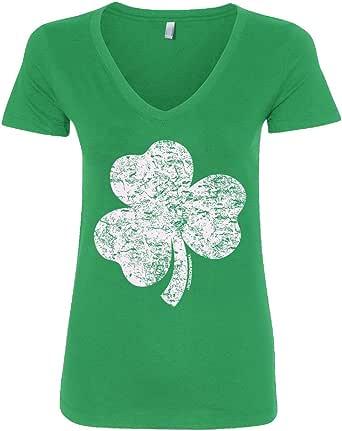 Threadrock Women's Distressed Shamrock V-Neck T-Shirt