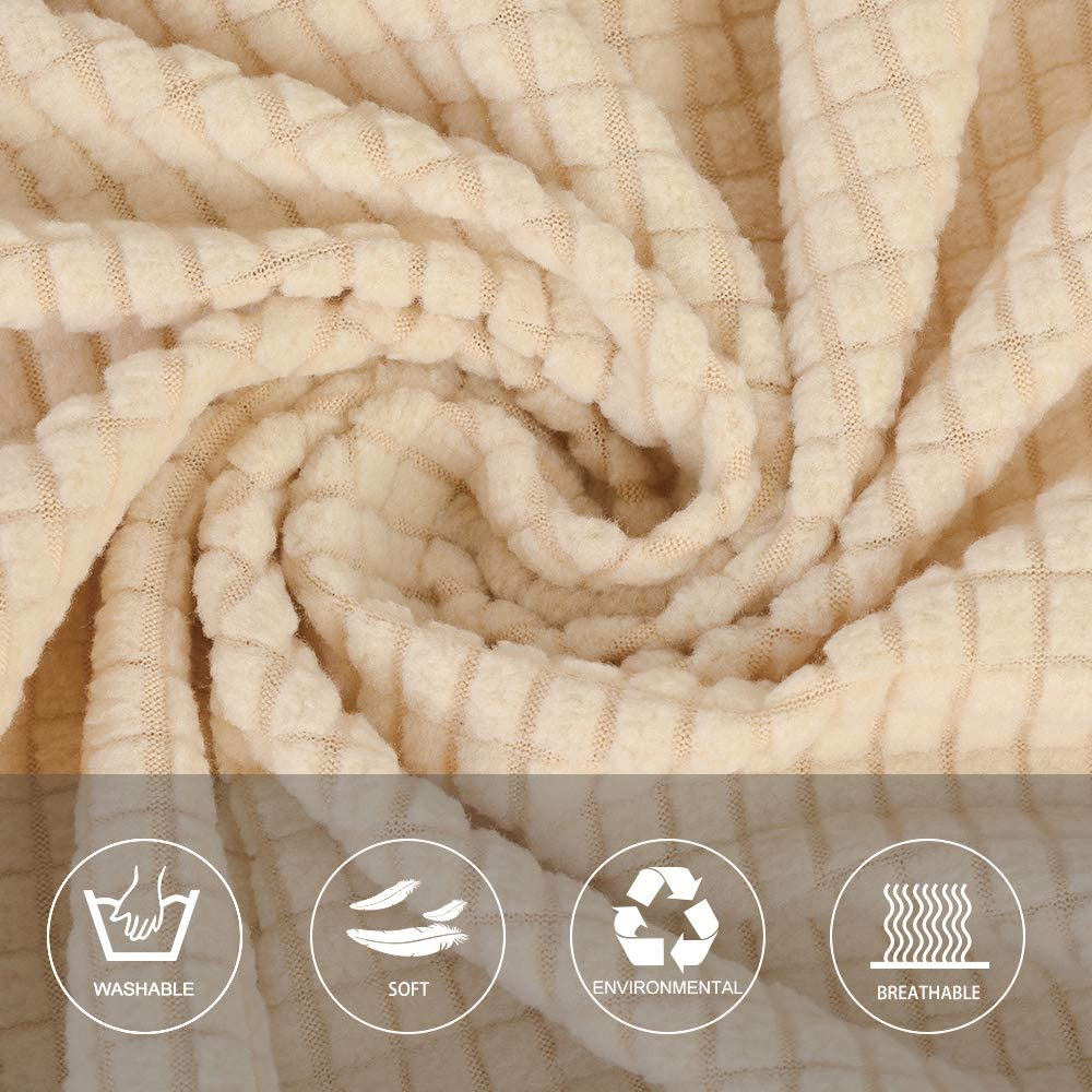 SearchI Copridivano Elasticizzato 3 Posti Fodera da Divano Jacquard Copridivano Coprisof/à Universale Beige 180-230cm