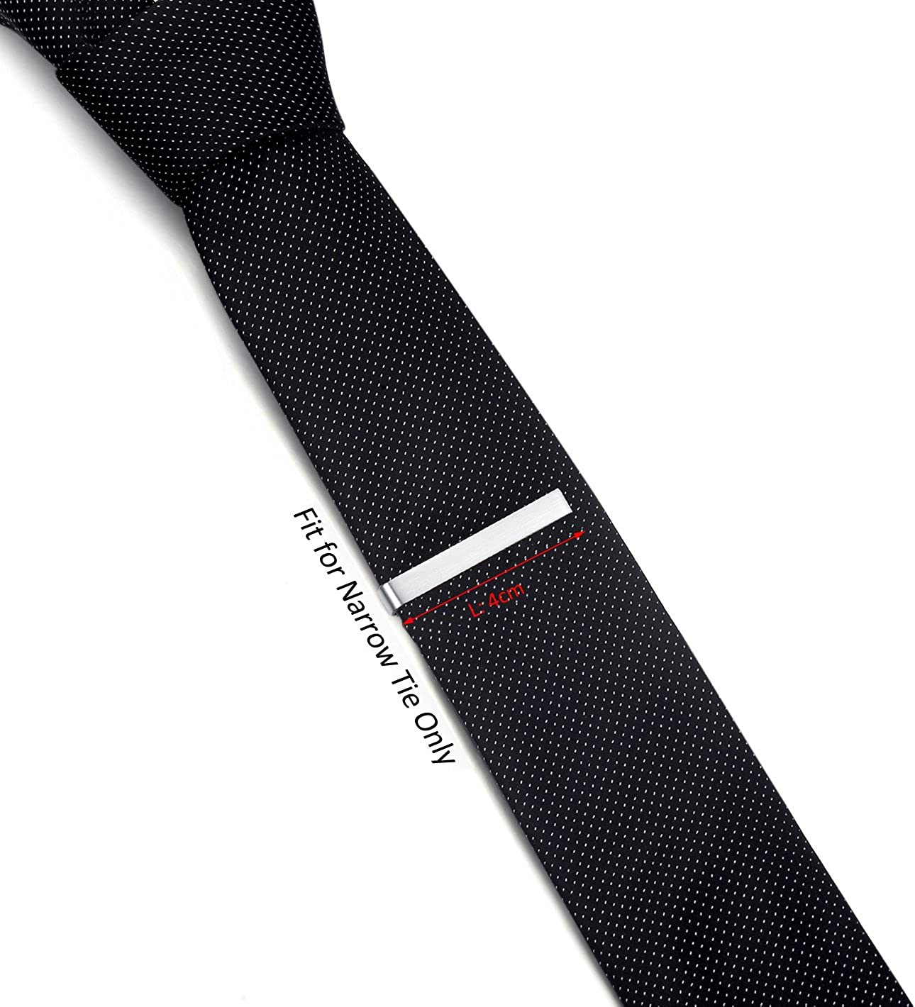 HONEY BEAR Skinny Clip Pasador de Corbata Acero Inoxidable,Boda Negocio Regalo,4cm para Hombre//Chicos Necktie