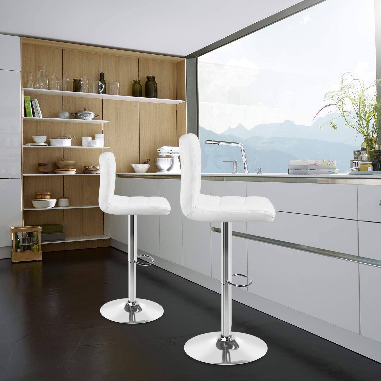 Set di 2 sgabelli da Bar Altezza Regolabile girevoli a 360/° Portata Fino a 150 kg Ziigo con Schienale e poggiapiedi