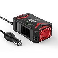 BESTEK 300W Sinus Spannungswandler Wechselrichter DC 12V auf AC 230V Inverter, inkl. Kfz Zigarettenanzünder Stecker, Schwarz/Rot