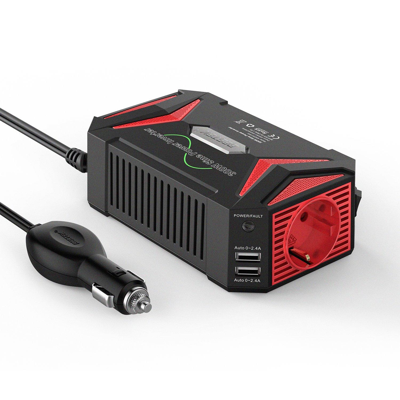 Inversor De Corriente 300W, BESTEK Onda Sinusoidal Convertidor 12v 220v para Coche con 2 Puertos USB Y 1 Toma 12V A 220V, Adaprador De Mechero Encendedor De ...