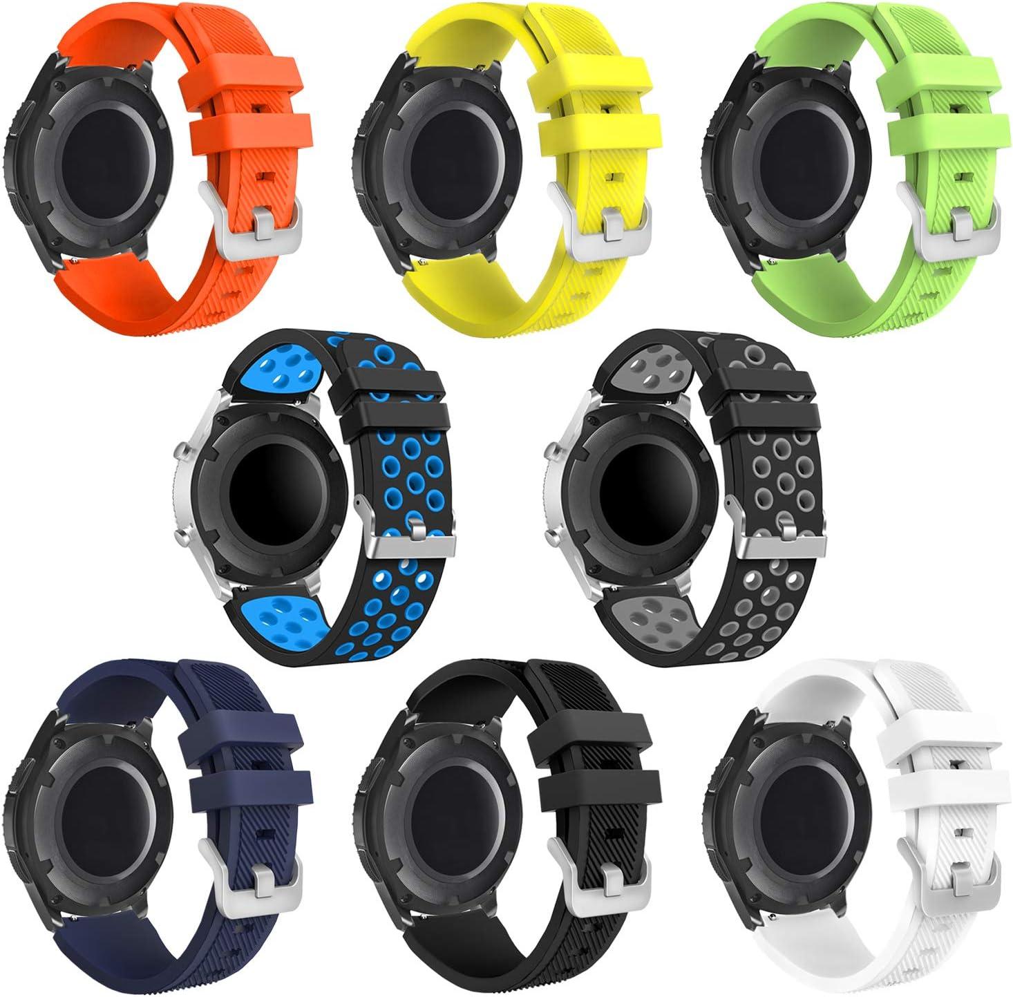 kytuwy Compatible con Correa de Reloj Gear Watch 3 45mm, Correa de Silicona Suave 20mm Deportiva Pulsera de Repuesto para Galaxy Watch 46mm/Gear S3 Frontier/S3 Classic Smart Watch. (8 Pack)