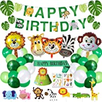 Safari Birthday Decorations Jungle Theme Party Supplies Included Birthday Banner Hat Sash Animal Balloons for Kids Boys…