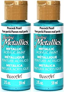 2-Pack - DecoArt Dazzling Metallics Acrylic Colors - Peacock Pearl, 2-Ounces Each