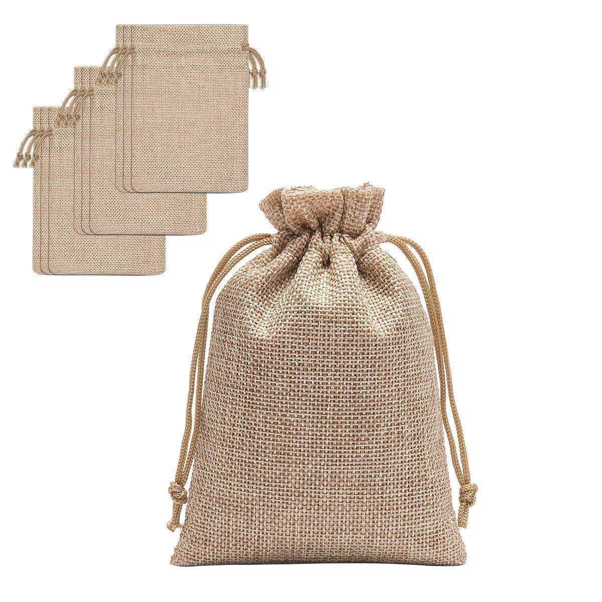 60 Pieces Burlap Bags with Drawstring - 5.3x3.8 inch Drawstring Gift Bags Jewelry Pouch for Wedding Party DIY Craft and Christmas Homtable