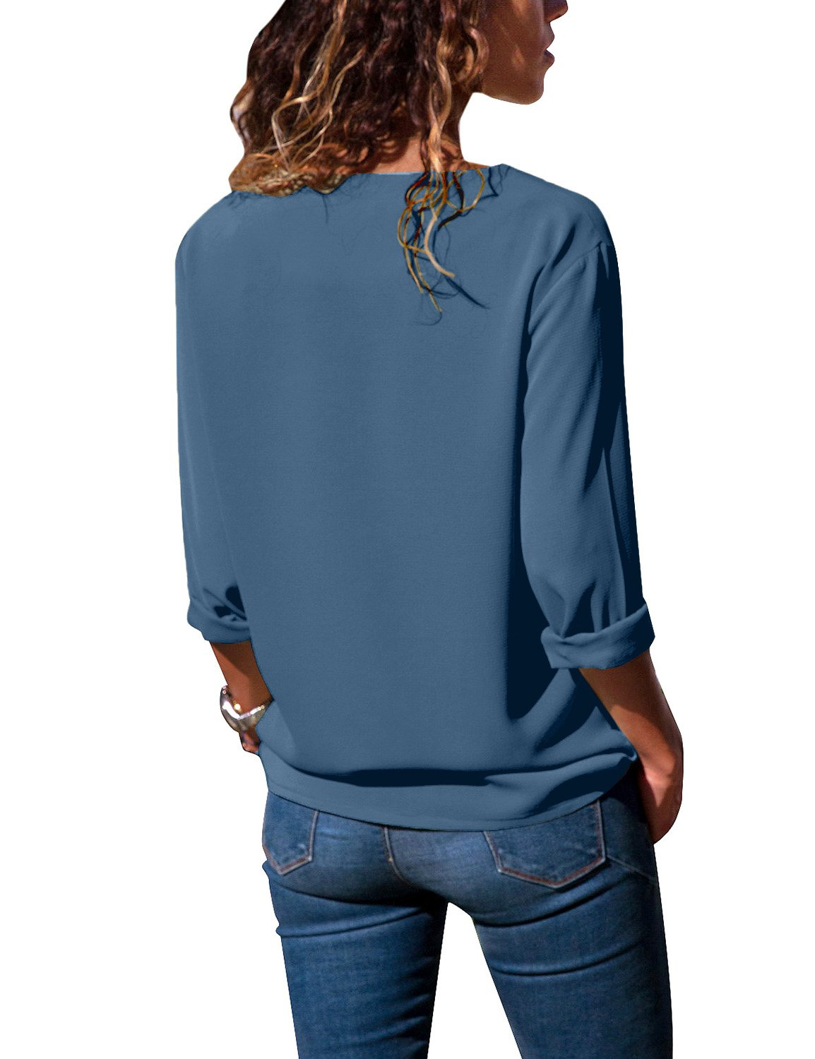 luvamia Women's Blue Side Buttons Shirt Casual Long Sleeve Chiffon Tops Solid Blouse Size M(US 8-10) by luvamia (Image #2)