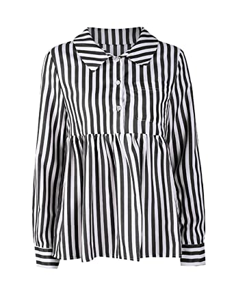 f8875f1b086 Kirabon Women's Casual Long Sleeve Half Button Striped Blouse at ...
