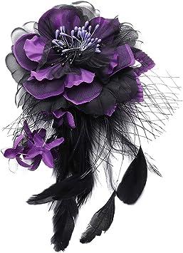 Maille Perle Et Plume Fleur clip et broche pin mariages fêtes
