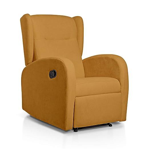 Sueños ZZZ | Sillon relax reclinable HOME tapizado tela antimanchas mostaza | Sillon reclinable butaca relax | Sillon orejero individual salon | ...