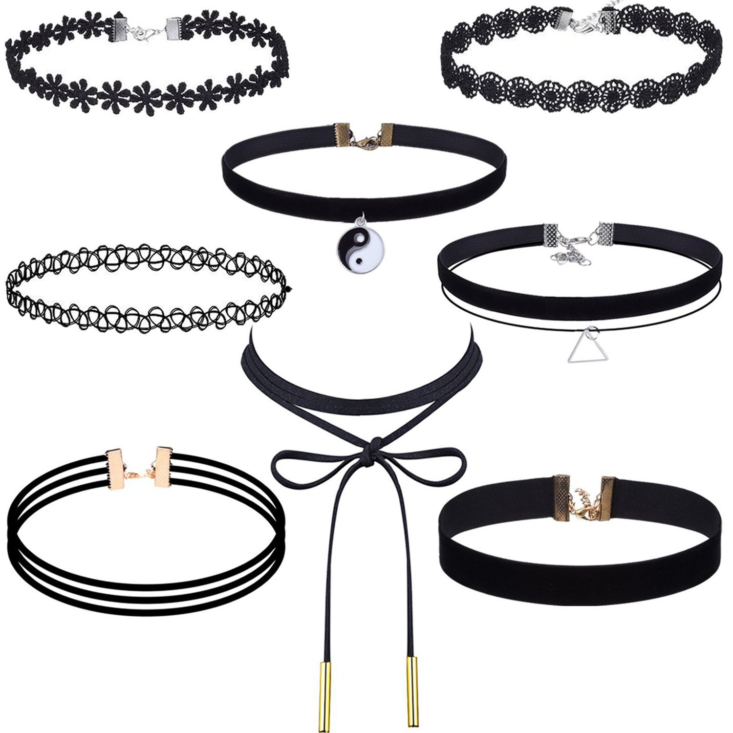 Outus 8 Pieces Choker Necklace Set Stretch Velvet Classic Gothic Tattoo Lace Choker Necklaces, Black
