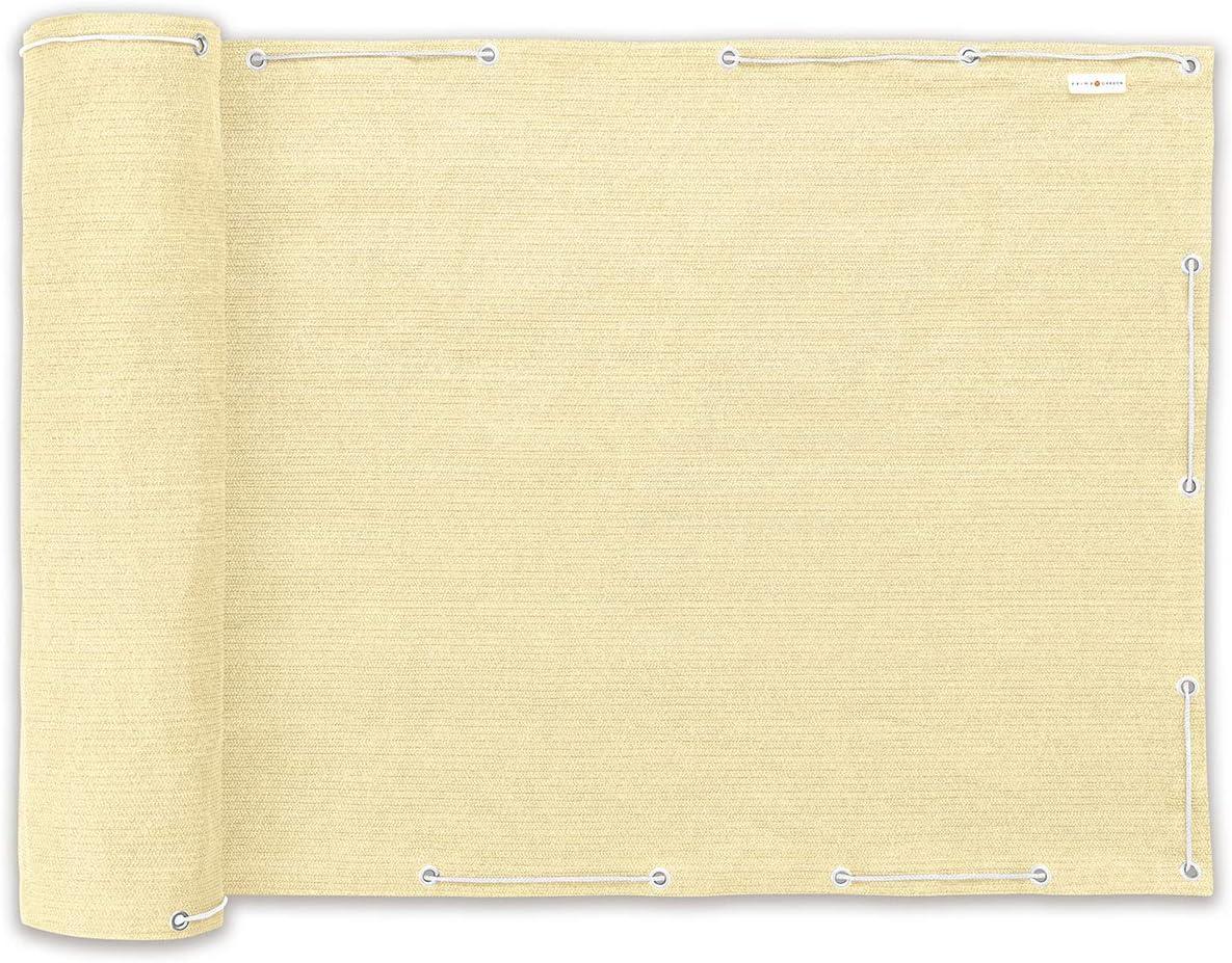 PRIMA GARDEN Balcone Privacy e Protezione dal Vento 500 x 90 cm con Cordino di 12 m Resistente alle intemperie e ai Raggi UV Bianco Sporco Idrorepellente e Resistente agli Strappi Opaco