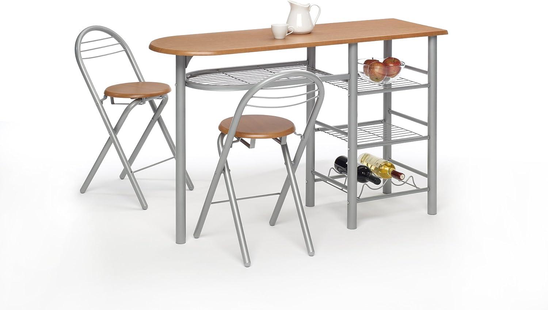 Mesa cocina barra para cocina con taburetes , color madera cerezo ...
