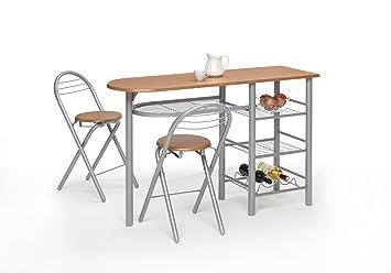 mesa cocina barra para cocina con taburetes color madera cerezo