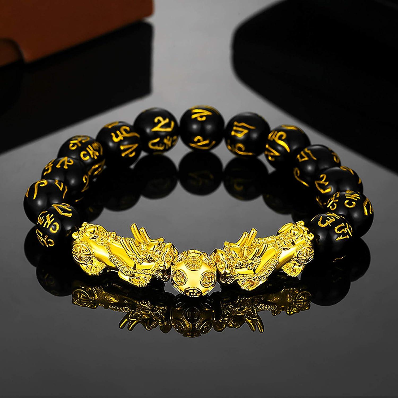 Speverdr Mythical Wild Animal Bracelet for MenGold-Plated Pixiu Obsidian Bracelet Mantra Protective Mens and Womens Bracelet Adjustable Size