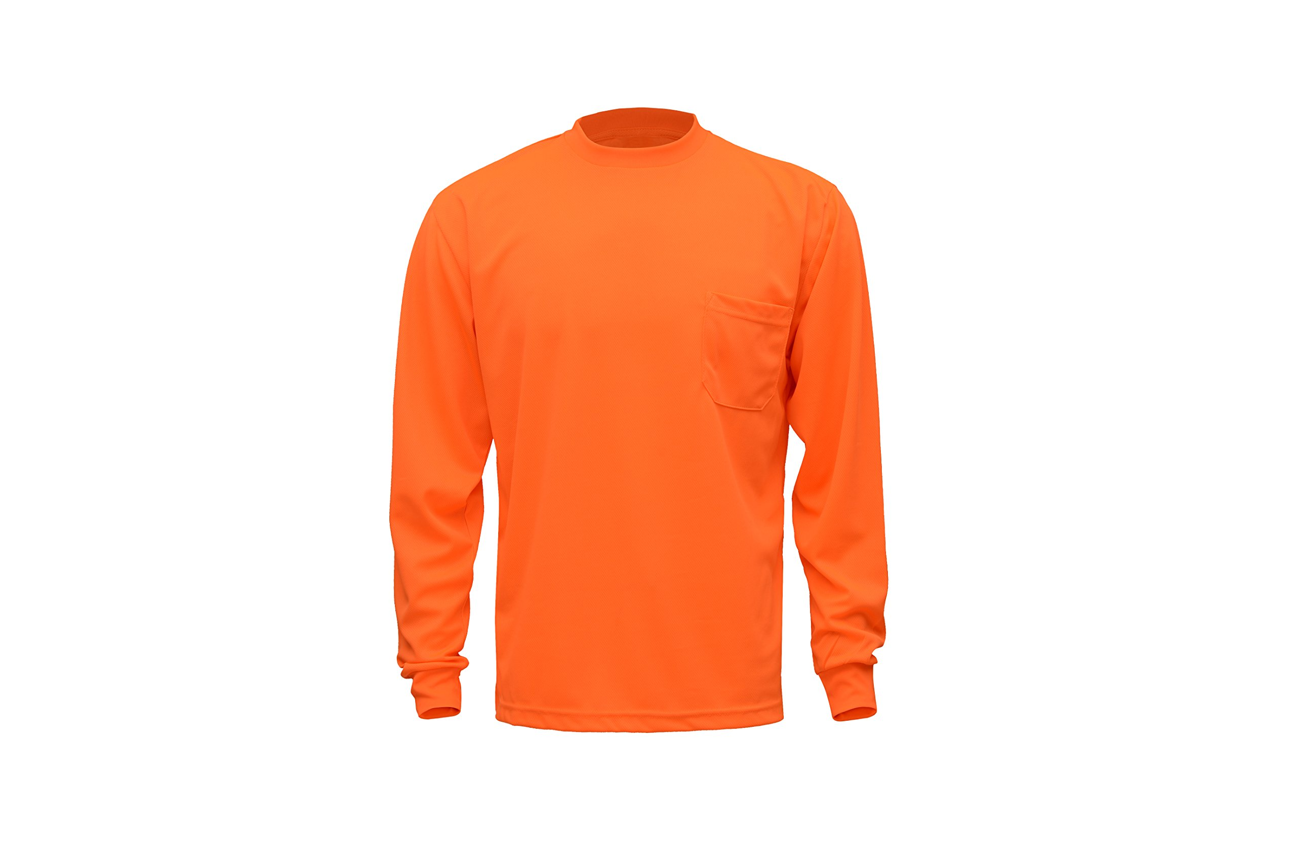 CJ Safety CJHVTS0002 High Vis Long Sleeve Safety Shirt   Moisture Wicking Birdseye Mesh   Chest Pocket (2XL, Orange)