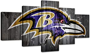 MIAUEN Baltimore Ravens Wall Decor Canvas Art Pictures Prints Posters 5 Piece Painting for Living Room Framed Home Sports Fan Prints Posters Decoration Ready to Hang(60''Wx32''H)