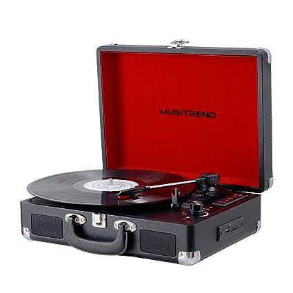 amazon com musitrend bluetooth turntable portable suitcase vinyl