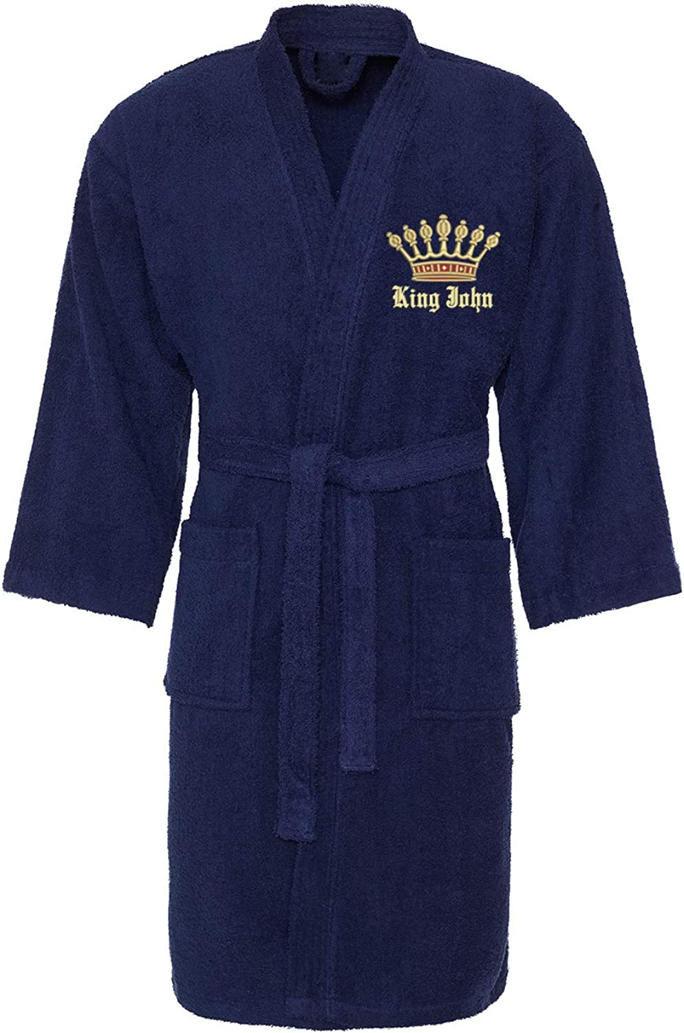 Graphic Impact Gold King Crown Design with Name Text Embroidery On Mens Bathrobe Gift Box
