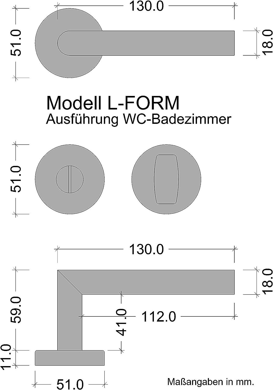 gedotec/® Haeusler-Shop Acero Inoxidable Sobre ovalado de roseta Modelo Lancia manija de puerta PZ-Cilindro perfilado marca de calidad para tu sal/ón