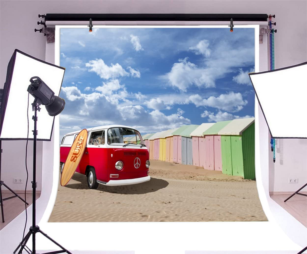 LFEEY 10x10ft Red Travel Car Photography Background for Photos Summer Beach Blue Sky Sand Colorful Wooden Houses Motor Homes Surfboard Backdrop Photo Studio Props