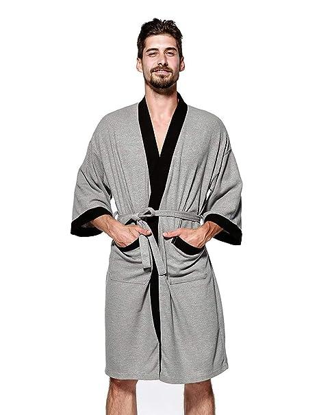 09cc8b31a1 WEEN CHARM Kimono Robe Men Plus Size Lightweight Cotton Waffle Jersey Spa Robe  Plush Bathrobe Loungewear