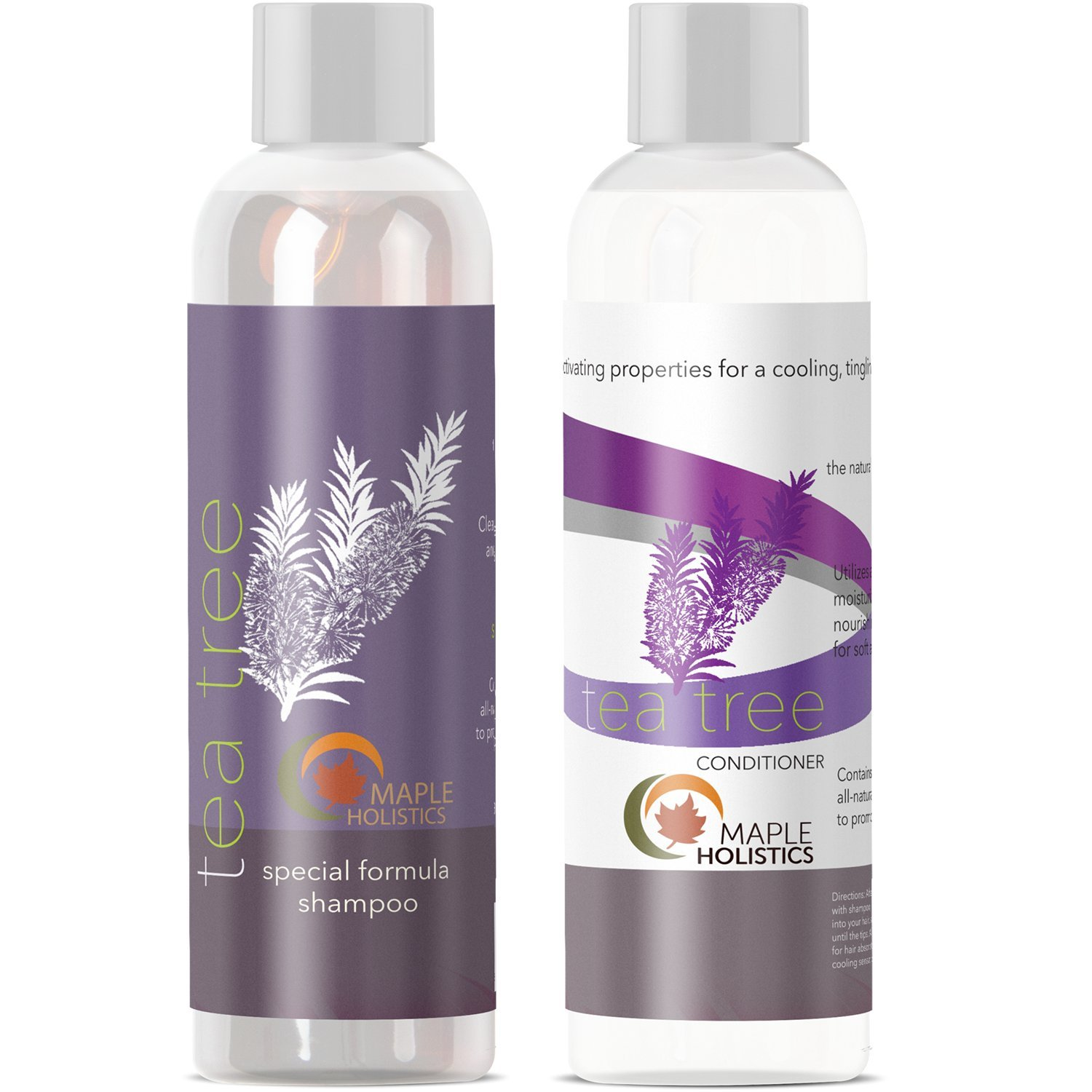 Tea Tree Oil Shampoo and Hair Conditioner Set - Natural Anti Dandruff Treatment for Dry and Damaged Hair - Best Gift Bundle for Men and Women - Sulfate Free & Safe for Color Treated Hair - USA Made Maple Holistics