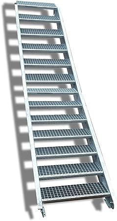 13 escalera de acero Escaleras/Nivel ancho Planta 160 cm/Altura 195 – 260 cm/Incluye Extremos