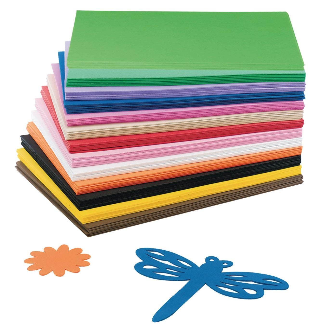 Pack of 12 Assorted Primary Colors 12 x 18 Inches Darice Foam Sheets