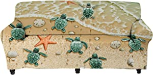 chaqlin Sea Turtles on The Beach Sofa Cover Stretch Couch Slipcovers Furniture Protector for Living Room Bedroom Washable Soft Fabric Anti Slip for 3 Seater for 55-72.8 in