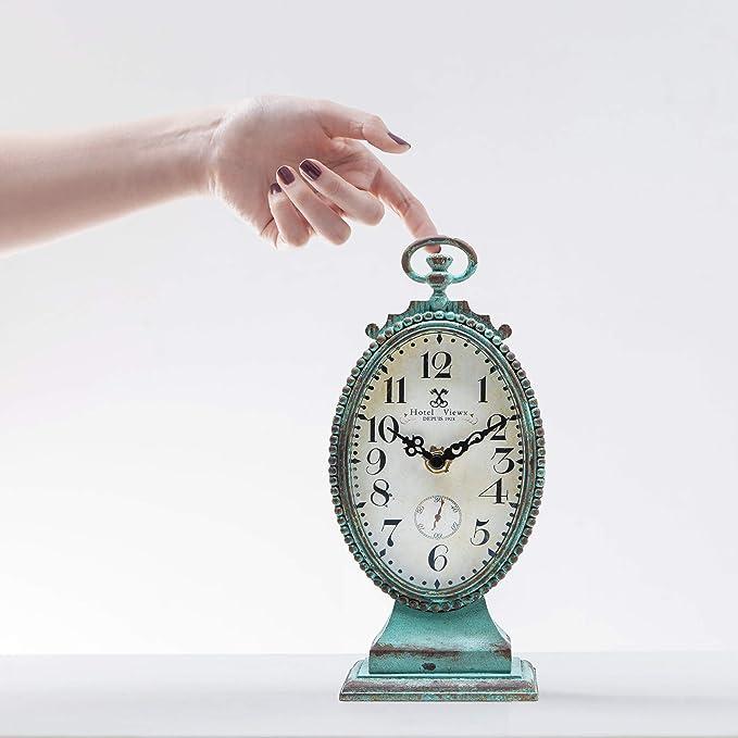 Vert NIKKY HOME Style Shabby Chic en /étain Horloge de Table Ronde Style Vieilli